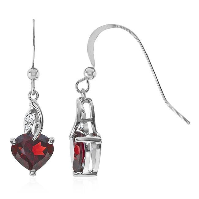 3.60 Carat Garnet & White Sapphire Heart Drop Earrings