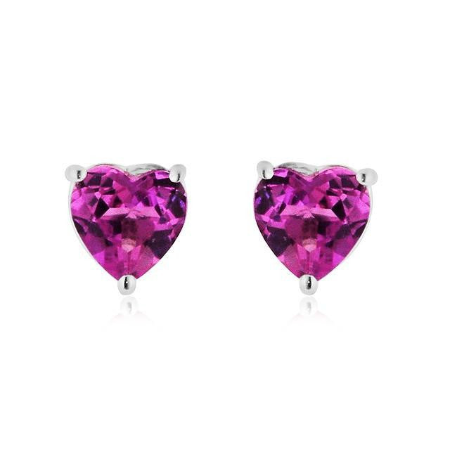 4.50 Carat Rose Mystic Heart Stud Earrings in Sterling Silver