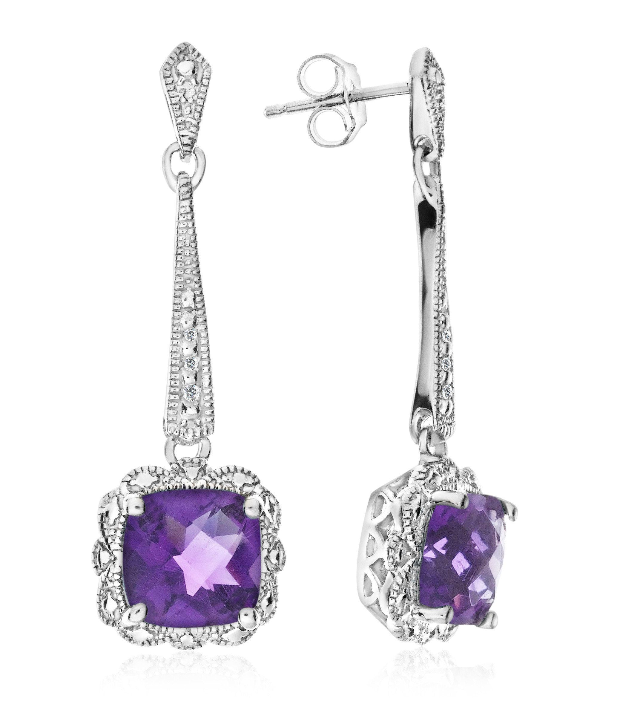 1.70 Carat Amethyst Dangle Earrings with Diamond Accents in Sterling Silver