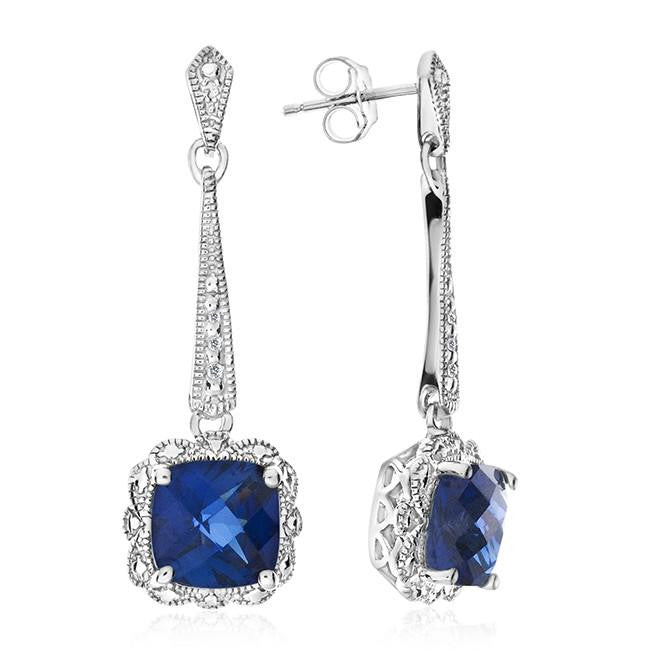 5.00 Carat Blue Sapphire Dangle Earrings with Diamond Accents in Sterling Silver