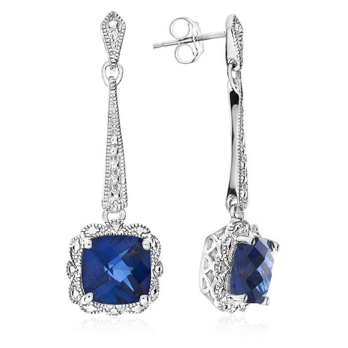 2.50 Carat Blue Sapphire Dangle Earrings with Diamond Accents in Sterling Silver