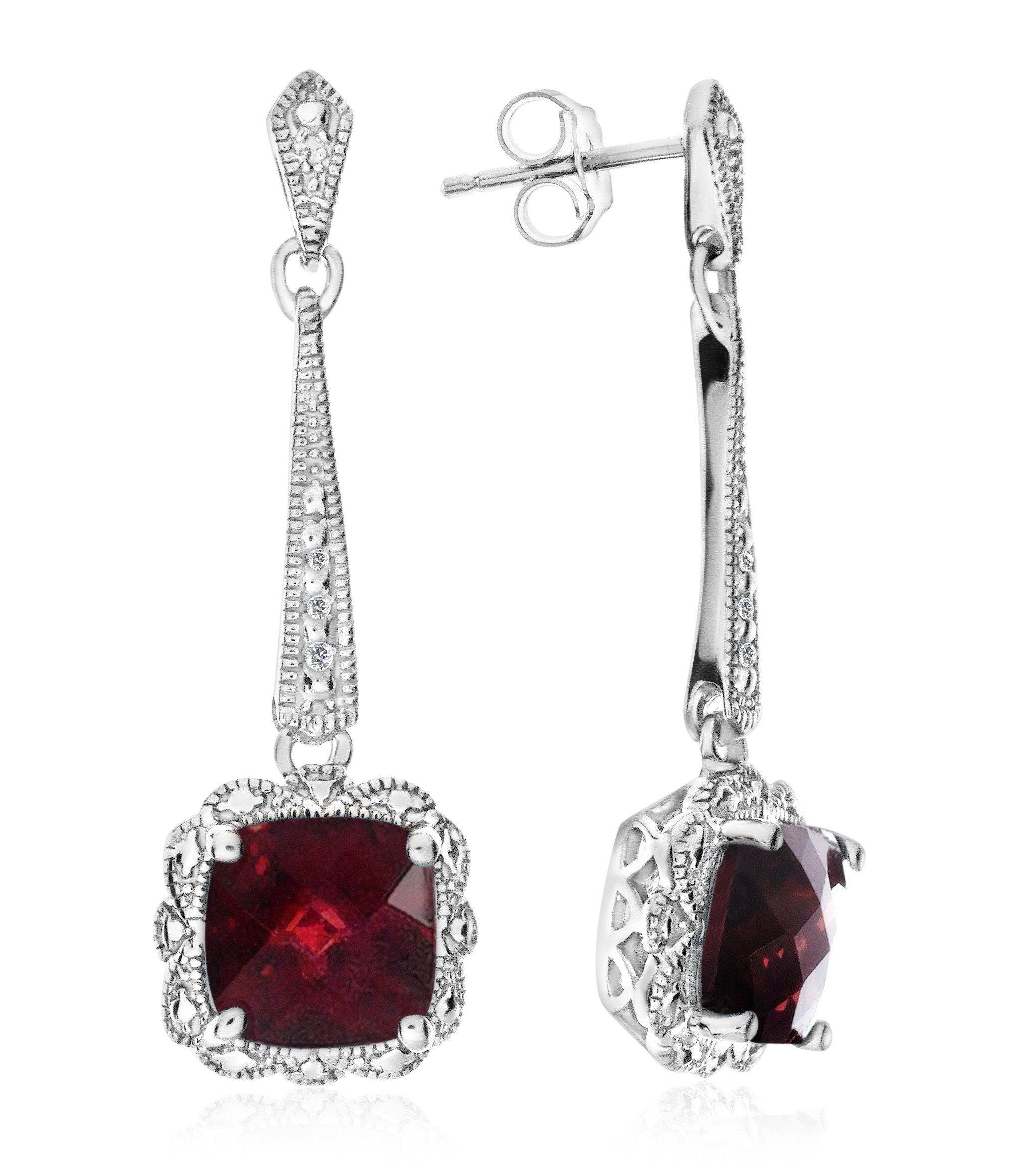 2.40 Carat Garnet Dangle Earrings with Diamond Accents in Sterling Silver