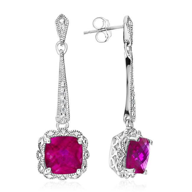 2.60 Carat Ruby Dangle Earrings with Diamond Accents in Sterling Silver