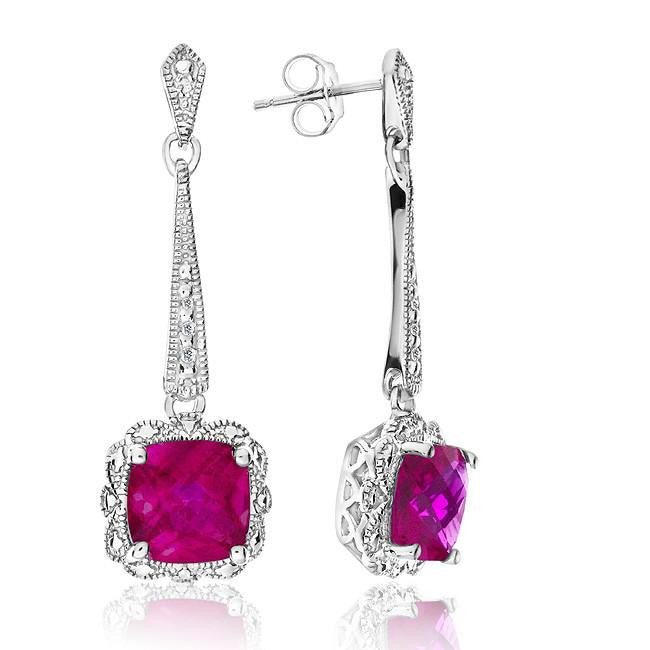 2.30 Carat Ruby Dangle Earrings with Diamond Accents in Sterling Silver
