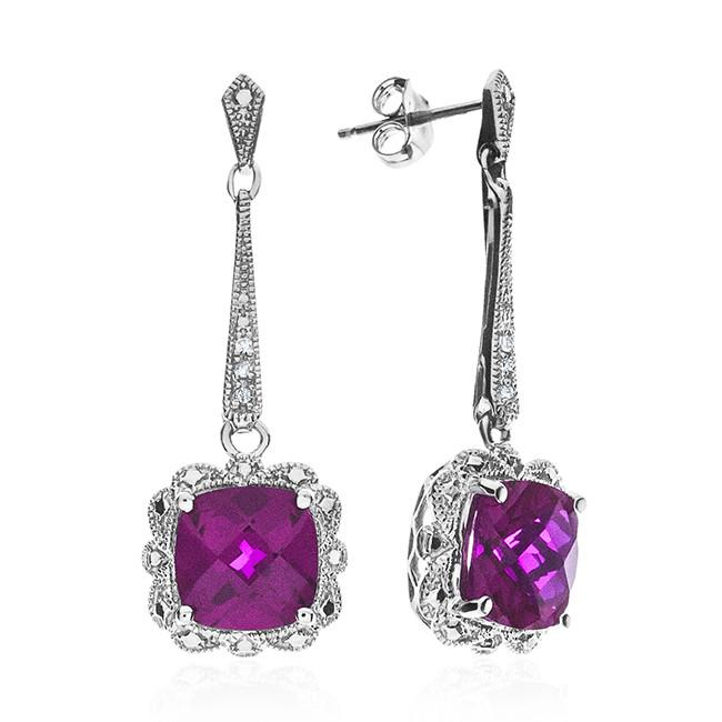 5.10 Carat Ruby Dangle Earrings with Diamond Accents in Sterling Silver