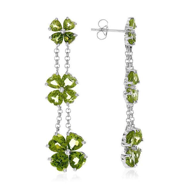 12.90 Carat Genuine Peridot Drop Earrings in Sterling Silver