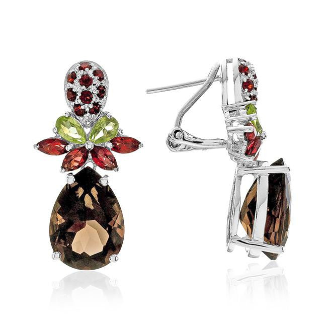 13.00 Carat Genuine Smoky Quartz & Multi-Color Gemstone Earrings in Sterling Silver