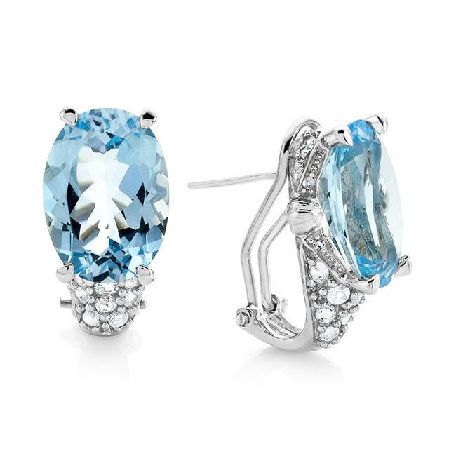 13.85 Carat Genuine Blue Topaz Earrings in Sterling Silver