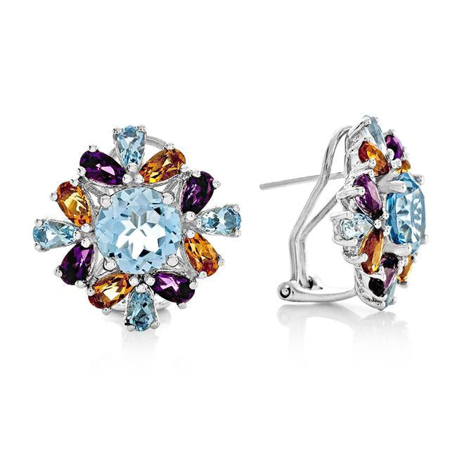 8.20 Carat Genuine Multi-Color Gemstone Earrings in Sterling Silver