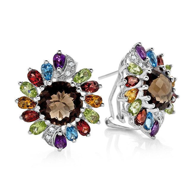 9.05 Carat Genuine Multi-Color Gemstone Earrings in Sterling Silver