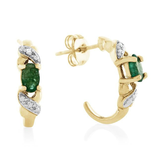 1.00 Carat Genuine Emerald & Diamond Earrings in Gold-Plated Sterling Silver