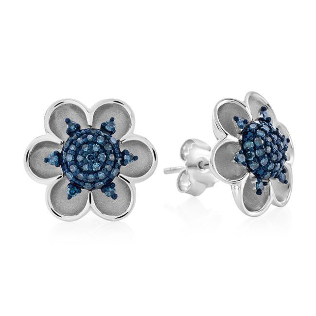 0.35 Carat Blue Diamond Flower Earrings in Sterling Silver