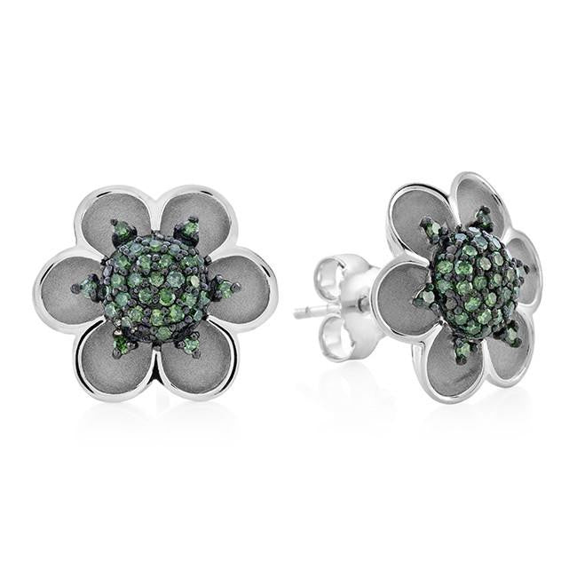 0.35 Carat Green Diamond Flower Earrings in Sterling Silver