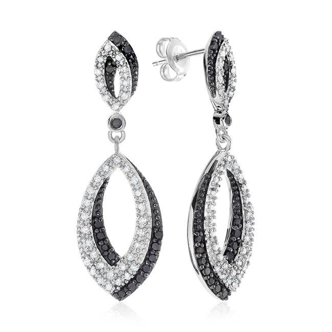 0.75 Carat Black & White Diamond Earrings in Sterling Silver