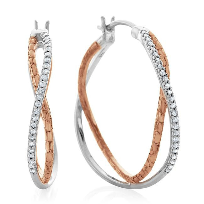 0.25 Carat Diamond Hoop Earrings in Two-Tone Sterling Silver