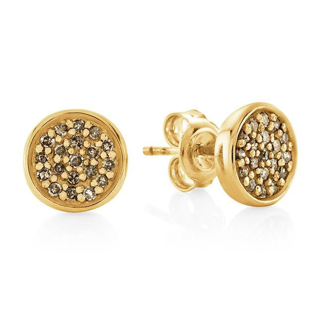 1/4 Carat Champagne Diamond Stud Earrings in Yellow Gold-Plated Sterling Silver