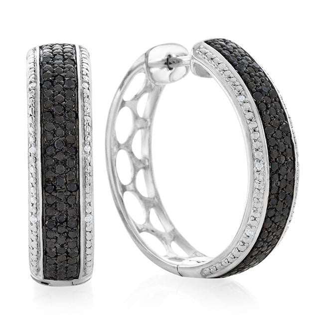 0.25 Carat Black & White Diamond Hoop Earrings in Sterling Silver