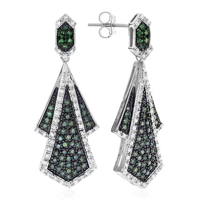 1.00 Carat Green & White Diamond Earrings in Sterling Silver
