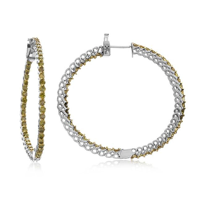 3.00 Carat Yellow Diamond Inside-Out Hoop Earrings in Two-Tone Sterling Silver