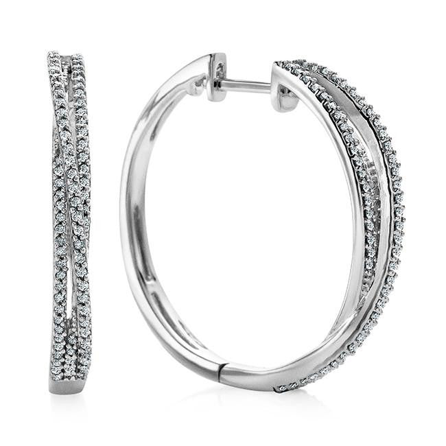 1/2 Carat Diamond Crossover Hoop Earrings in Sterling Silver