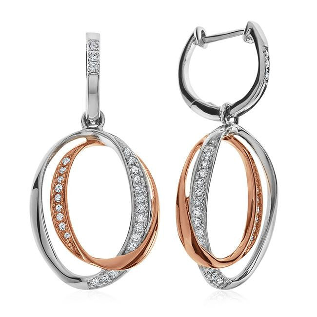 Double Circle Diamond Earrings in Two-Tone Sterling Silver