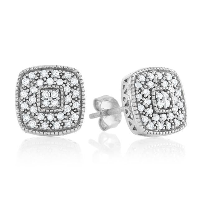 1/4 Carat Diamond Cluster Square Stud Earrings in Sterling Silver