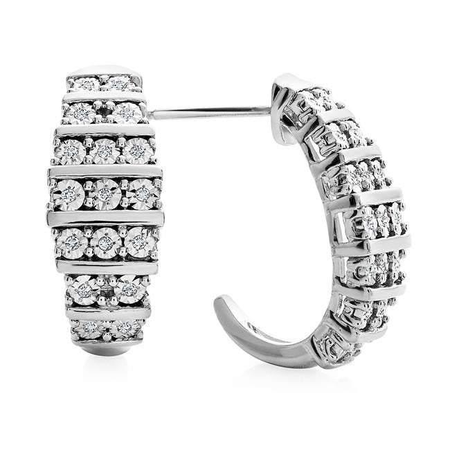 Diamond Miracles: 0.10 Carat Diamond Half Hoop Earrings in Sterling Silver