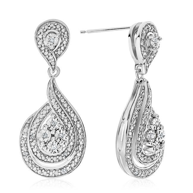 Diamond Accent Drop Earrings in Sterling Silver