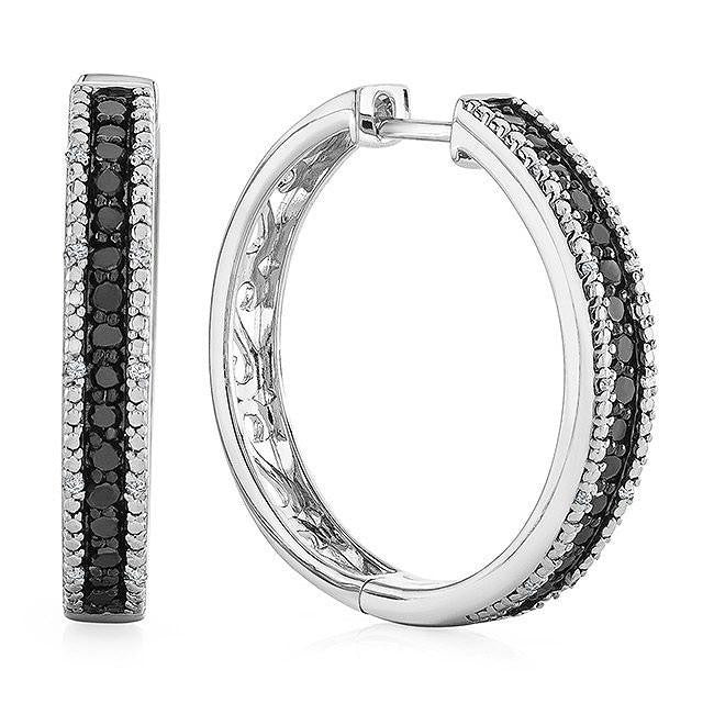 1.00 Carat Black and White Diamond Hoop Earrings in Sterling Silver