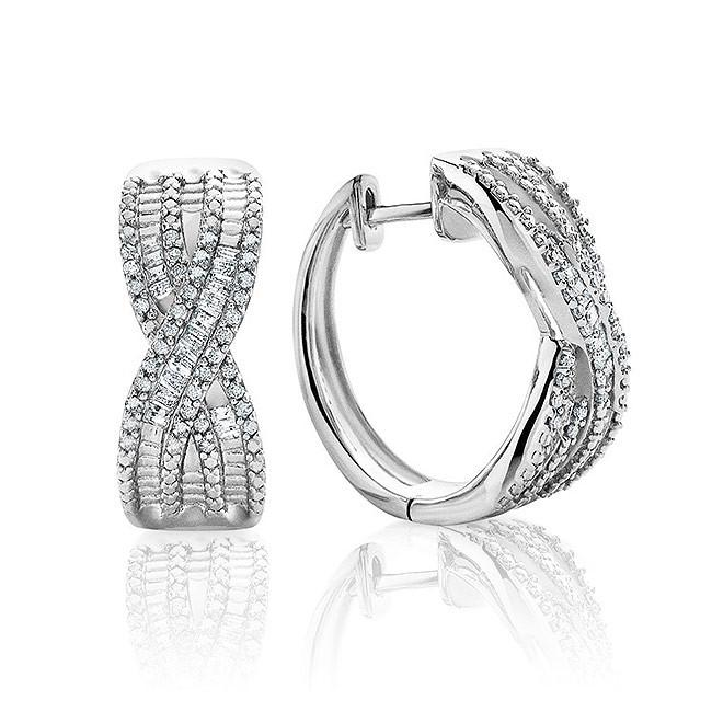 1/2 Carat Diamond Criss Cross Hoop Earrings in Sterling Silver