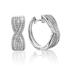 Load image into Gallery viewer, 1/2 Carat Diamond Criss Cross Hoop Earrings in Sterling Silver