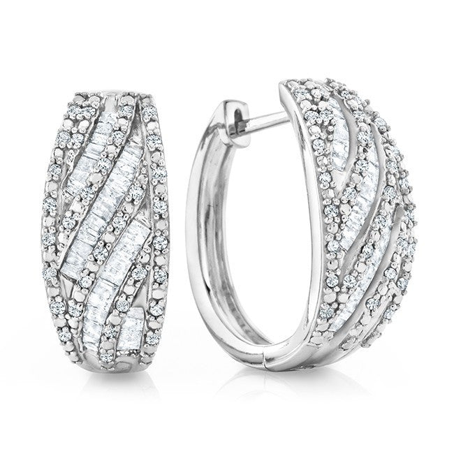 1.00 Carat  Diamond Oval Hoop Earrings In Sterling Silver