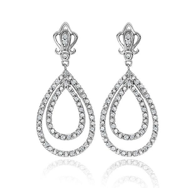 1/2 Carat Diamond Teardrop Earrings in Sterling Silver