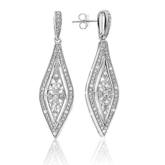 0.15 Carat Diamond Marquis Dangle Earrings In Sterling Silver
