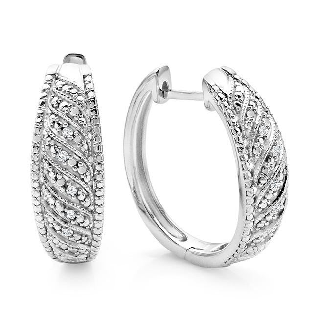 Diamond Accent Hoop Earrings in Sterling Silver