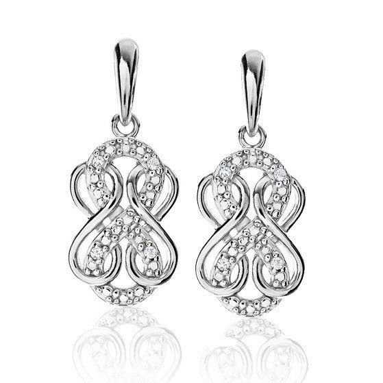 Diamond Accent Triple Infinity Dangle Earrings In Sterling Silver
