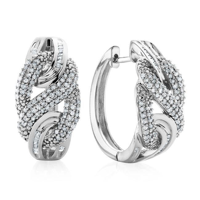 1.00 Carat Diamond Swirl Hoop Earrings in Sterling Silver
