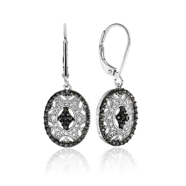 Black & White Diamond Accent Oval Dangle Earrings in Sterling Silver