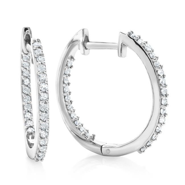 1/3 Carat Diamond Inside Out Hoop Earrings in Sterling Silver