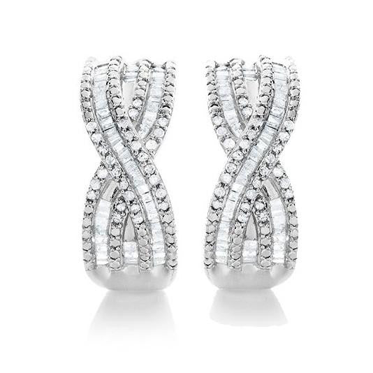 1.00 Carat Diamond Criss Cross Hoop Earrings in Sterling Silver