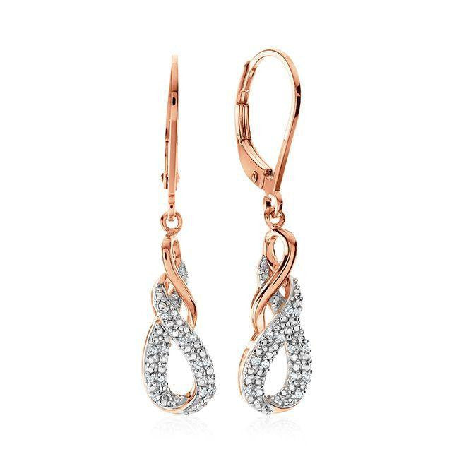 Diamond Accent Infinity Dangle Earrings in Rose Gold-Plated Sterling Silver