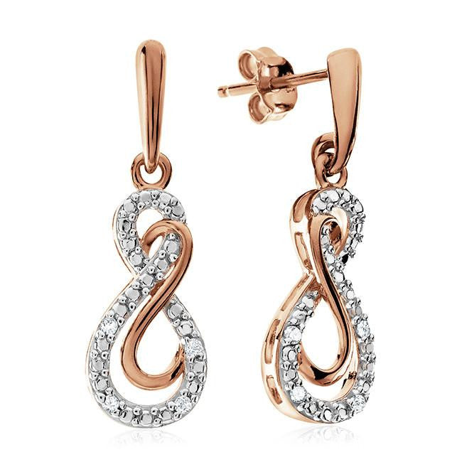 Diamond Accent Double Infinity Dangle Earrings In Rose Gold-Plated Sterling Silver