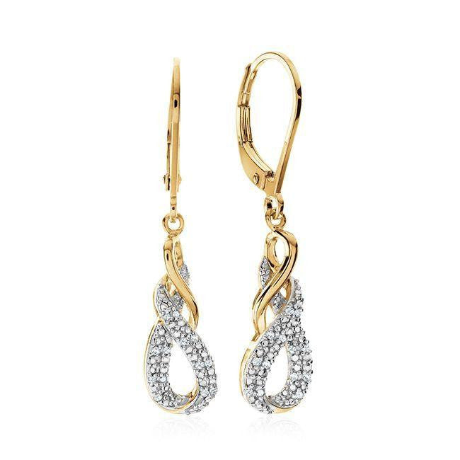 Diamond Accent Infinity Dangle Earrings in Gold-Plated Sterling Silver