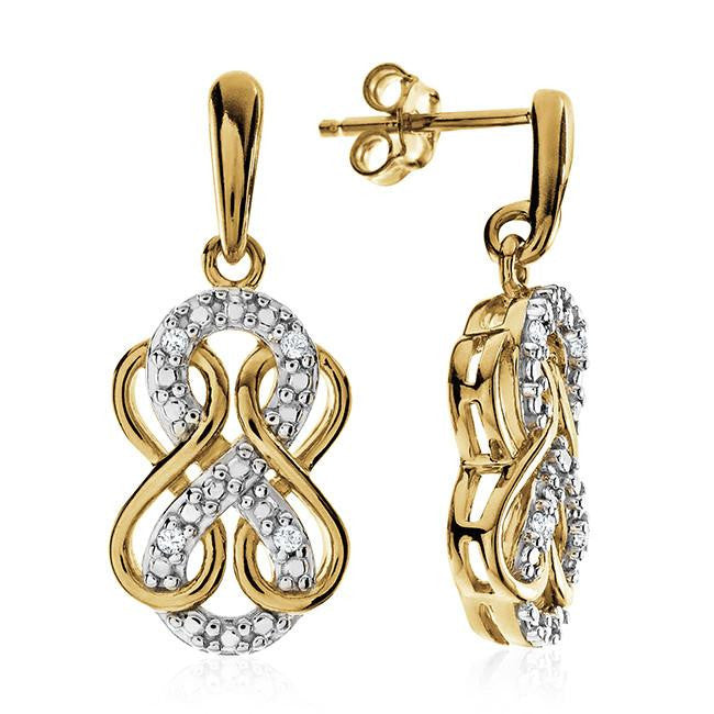 Diamond Accent Triple Infinity Dangle Earrings In Gold-Plated Sterling Silver