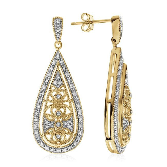 0.15 Carat Diamond Teardrop Floral Dangle Earrings In Gold-Plated Sterling Silver