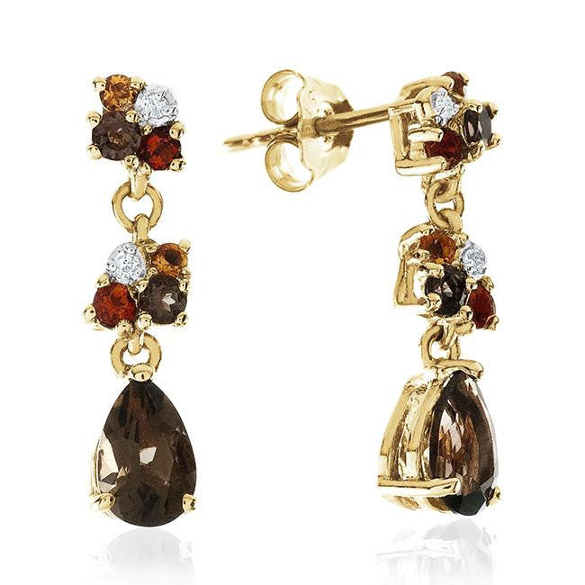 1.00 Carat Genuine Multi-Color Gemstone Earrings in Yellow Gold Over Sterling Silver
