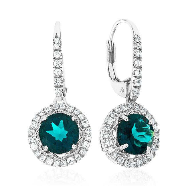 2.55 Carat Emerald & White Sapphire Earrings in Sterling Silver