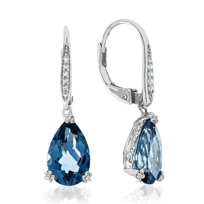 5.66 Carat Genuine London Blue Topaz Earrings in Sterling Silver