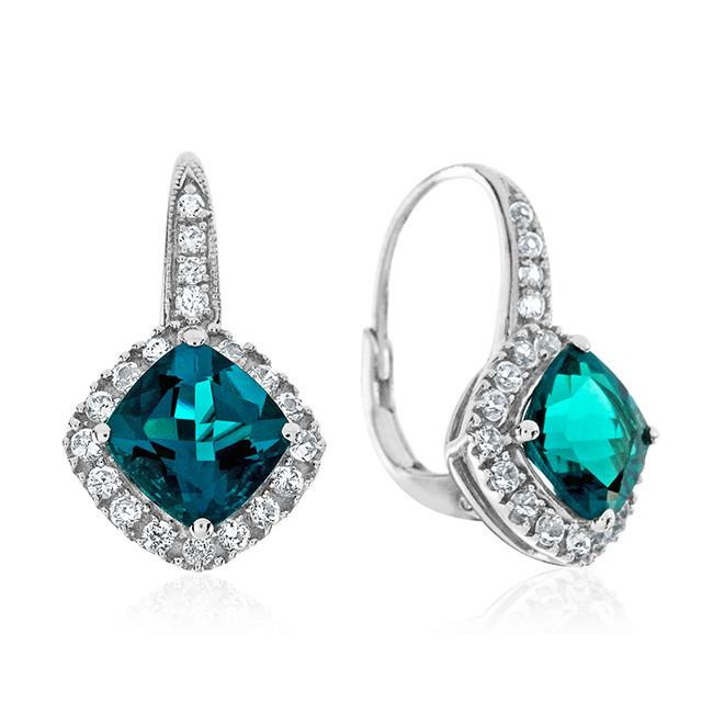 3.30 Carat Emerald & White Sapphire Earrings in Sterling Silver