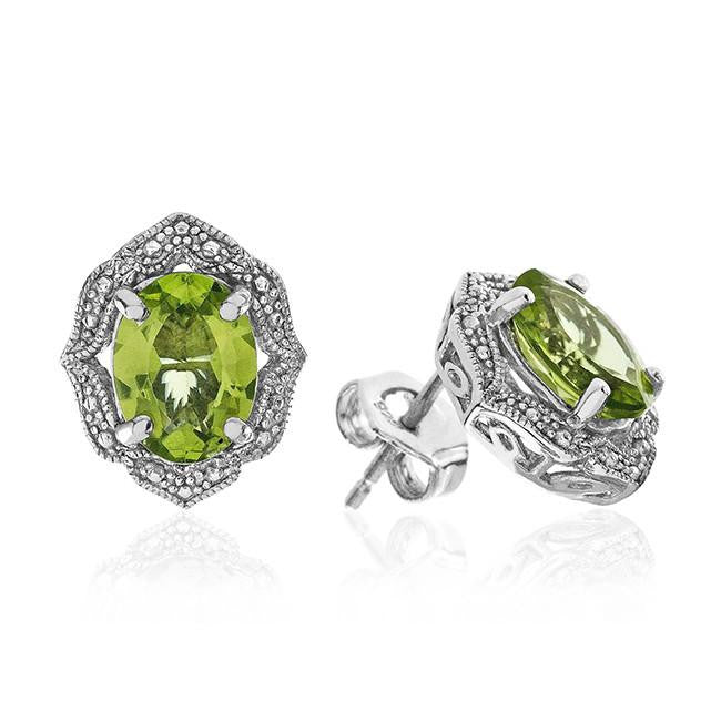 2.30 Carat Genuine Peridot Earring in Sterling Silver